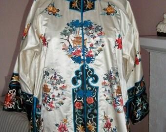silk CHINESE KIMONO JACKET  embroidered