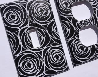 Black And White Roses Single Light Switch Cover/ Black White Bedroom Decor / Rose Wall Art/  Floral Home Decor/ Black White Nursery Decor