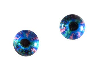 6mm Gecko Glass Eye Cabochons - Taxidermy Eyes for Doll or Jewelry Making - Set of 2 - Reptile Eyes in Blue and Pink