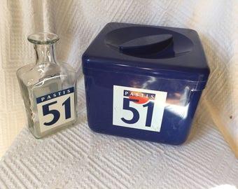 French Vintage Home Decor, Vintage Ice Bucket with lid, Retro barware, mid century barware, retro ice bucket, Vintage barware, 51 Pastis