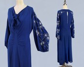 1930s Dress / 30s Blue Beaded Gown / Amazing Balloon Sleeves / Keyhole Back