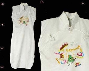Vintage Cheongsam Dress - 1950s White Satin Asian Style Sheath with Dragon - Small Costume