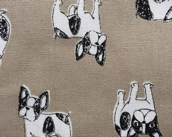 French bulldog printed  fabric half yard