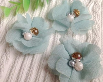 """48pcs 5cm 1.96"""" wide dusk blue flowers chiffon beads stones appliques patches brooches 332851216 free ship"""