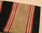 Waverly stripe fabric gold black red