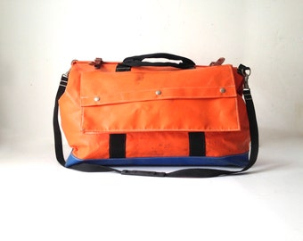 vintage DAY BAG orange and blue with LEATHER accents heavy duty rainproof outdoor gear bag large sturdy