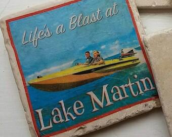 Fun Retro Coasters for the Lake House Customized Set of 4