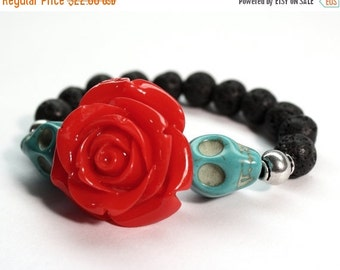 SALE Muertos Bracelet, Sugar Skull Bracelet, Day of the Dead Bracelet, Lava Rock Bracelet, Turquoise Bracelet, Frida Bracelet, Oil Difuser
