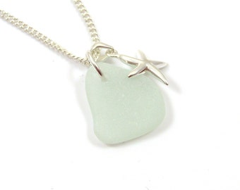 Sea Glass and Sterling Silver Starfish Necklace