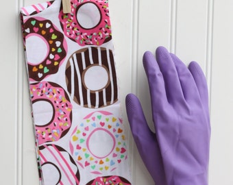 Donuts on White Cuff- Fancy Ruffled Rubber Gloves - Cleaning Gloves - Dishwashing Gloves