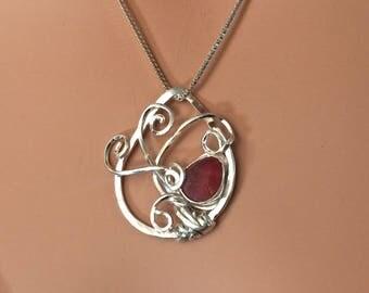 RED English Multi Sea Glass Necklace Argentium® Silver Tree Pendant by Ocean Edge Designs