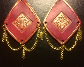 Elegant Pink and Gold Earrings