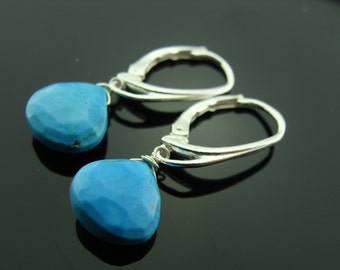 Turquoise Drops Sterling Silver Leverback Earrings