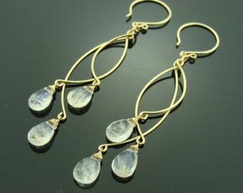 Long Rainbow Moonstone Chandeliers 14K Gold Filled Earrings