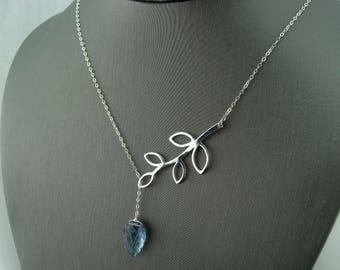 Blue Quartz Leaf Branch Lariat 925 Sterling Silver Necklace