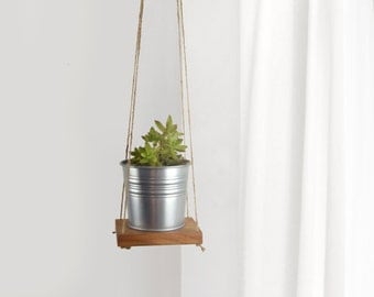 Reclaimed Wood and Jute Plant Holder for DIY Wall Hanging Planter | Swing Shelf, Floating Shelving | Succulent Wooden Plant Stand, Hanger