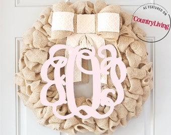 Burlap Wreath, Everyday wreath, Initial Wreath, Monogram Wreath, Summer Wreath, Summer Wreath, Pink Wreath, Baby Wreath, Front Door Wreaths