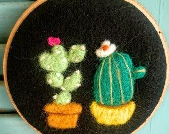 Felt Cactus Art.  Embroidery Hoop Art.  Felt Cactus. Felt Succulents.  Folk Art.  Wool Art