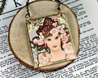 Alphonse Mucha Painting Pendant Necklace Handcrafted Mucha Pendant Necklace Only N 102
