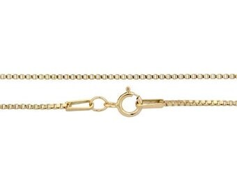 """Box Chain With 5.5mm Spring Ring Clasp 30"""" 14Kt Gold Filled 1mm - 1pc  High Quality  Chain (11023)/1"""