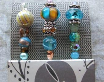 Decorative Pins, Blue - Scrapbook, Embellishment, Beaded Pins, Stick Pins, Cardmaking, Wedding