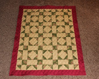 Shoo Fly Quilt - Lap Size Quilt - Lap Quilts - Burgundy and Neutral Colors - Throw Size Quilt - Burgundy Quilt - Neutral Quilt READY TO SHIP