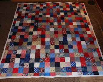 "Queen Size Quilt - Americana Patchwork Quilt  - Red, White & Blue - Handmade Quilt - READY TO SHIP Oversize Queen Bed Quilt 92.5"" x 103"""