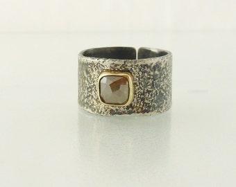 Grayish Green Diamond ring, 14K gold and Sterling Silver natural Diamond ring - Engagement Diamond Ring, Rustic diamond band