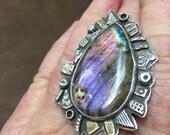 Purple flash labradorite ring