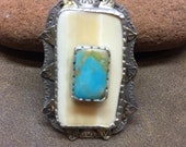 Fossil ivory and turquoise ring, one of a kind ring, sterling silver ring, spiral jewelry