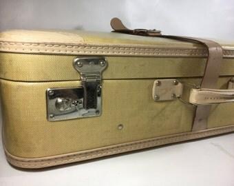 hard shell tweed beige leather belt vintage suitcase plaid chrome