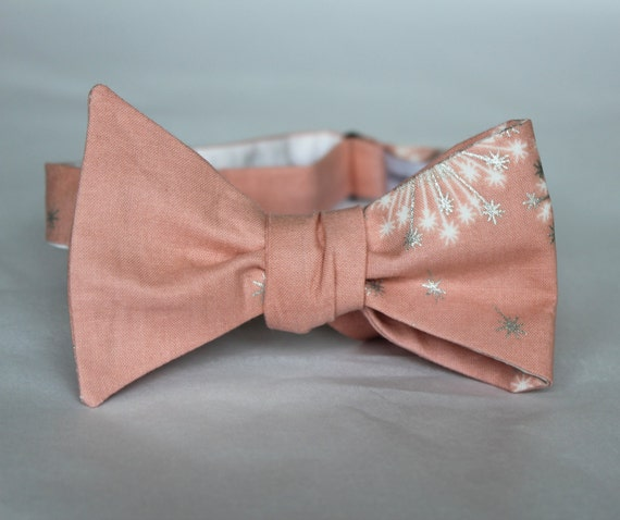 Wedding Blooms Silver and Peach Bow Tie - Groomsmen and wedding tie - clip on, pre-tied with strap or self tying