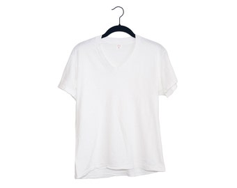 Vintage Hanes 100% Cotton White V-Neck T-Shirt, Made in USA - Small