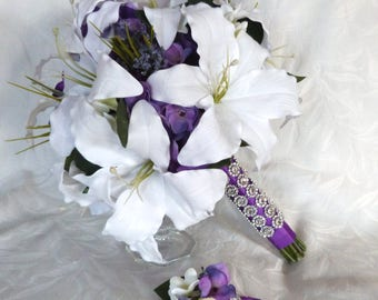 White Star Gazer lily calla lily with purple hydrangea wedding bouquet
