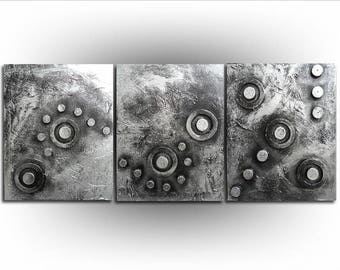 Triptych - Abstract - Black and Metalic Silver painting Art - Abstract in Silver No. 3 - Textured - 20 x 48 -Skye Taylor
