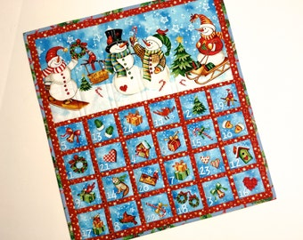 Christmas Countdown Advent Calendar - Snowman Children Activity Panel - Quilted Wall Hanging - Keepsake - Holiday Decor - Christmas Quilt