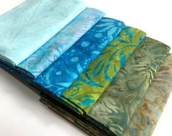 Batik Fabric Bundle  6 Fat Quarters Aqua Green Assortment  Quilting Weight Cotton Fabric Boundless Mixers  Stash Builder Quiltsy Destash