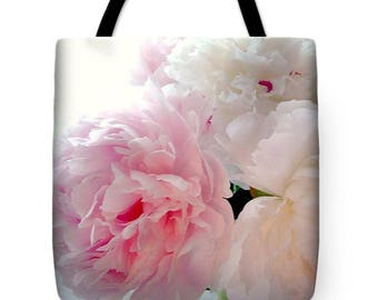 Peonies Tote Bag, Grocery Tote Bag, Flower Tote Bag,  Summer Tote Bag, Beach Tote Bag, Patrushka Flower Totes, FREE SHIPPING USA