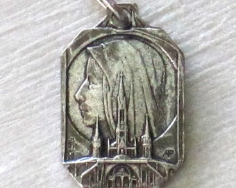 SALE Antique French Silverplate Pendant Medal of the Virgin & The Grotto at Lourdes Signed Adolphe Penin and C. Charl C1920