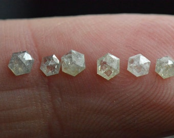 0.615ct parcel 2.4 to 3.2mm of 6 Hexagon diamonds white silver grey hint of yellow also called Antwerp Rose cut