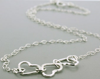 Three Heart Necklace - Silver Heart Necklace - Heart Necklace - Sterling Heart Necklace - Sterling Silver Necklace Gift