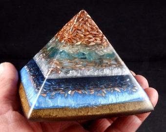 Blue Apatite Orgonite® Pyramid with Tibetan Crystal, Fluorite, Phenacite, Petalite, Elite Shungite, Tourmaline, Rhodizite Crystal, Selenite