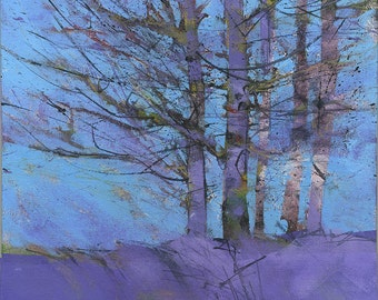 Original landscape painting - Purple birches