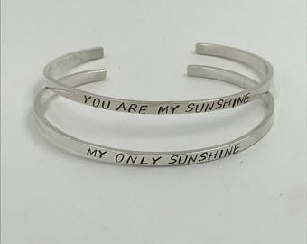 MOTHERS DAY GIFT | Mother Daughter Sterling Silver Cuff Bracelet Set | Your Are My Sunshine My Only Sunshine |Hand Stamped |The Bleu Giraffe