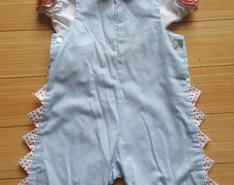 Vintage 1980s romper jumper with top pinstripe overalls novelty scalloped 2t-3t