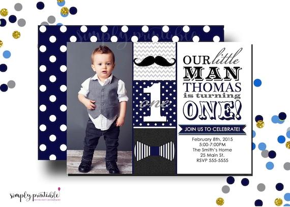 Little Man Invitation, Bowtie Mustach Invite, 1st Birthday, Navy
