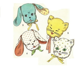 PIllow Playmates Pattern, Simplicity 2328, Cat and Dog Pillow Pattern, FF with transfers Vintage sewing pattern