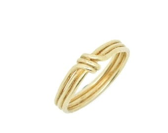Crossover 18k Gold Ring or Wedding Band - Tied Rushes, wedding ring, promise ring, yellow gold, rose gold, green gold, delicate, dainty