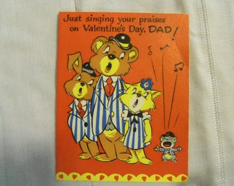 Vintage 50s Valentine for Father Dad Singing Animals Bear Cat Rabbit