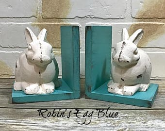Primitive Farmhouse White Rabbit Set of Bookends//French County Rustic Bunny Book Ends//Shabby Chic Rabbit Figurines Bookends